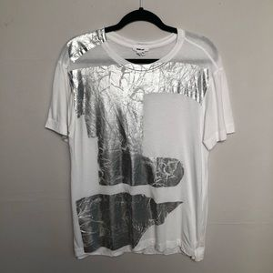 Helmut Lang | Silver Foil Step Hem Graphic Tee S